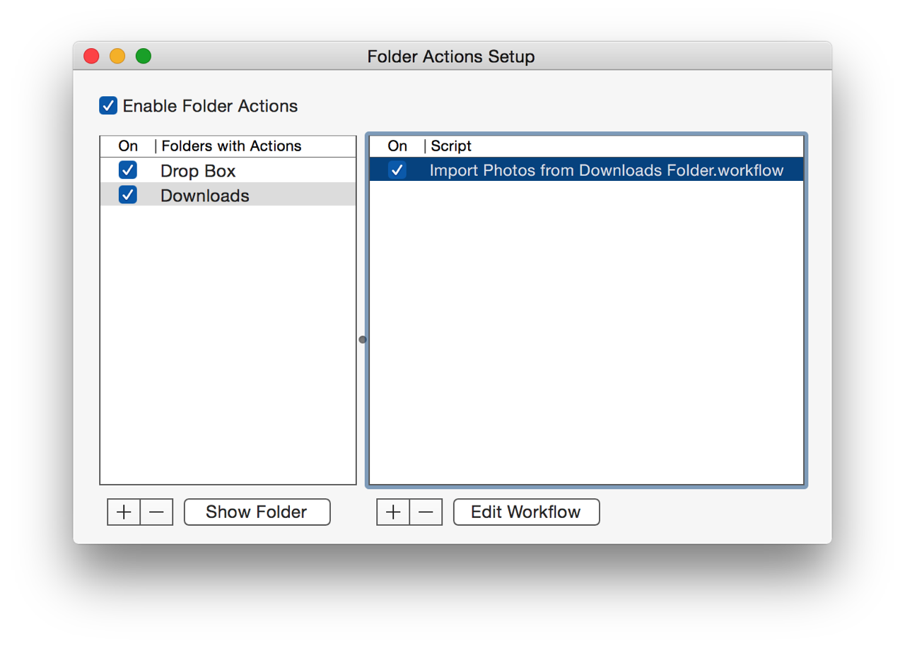 Photos automator importing images from hot folders for Folder action
