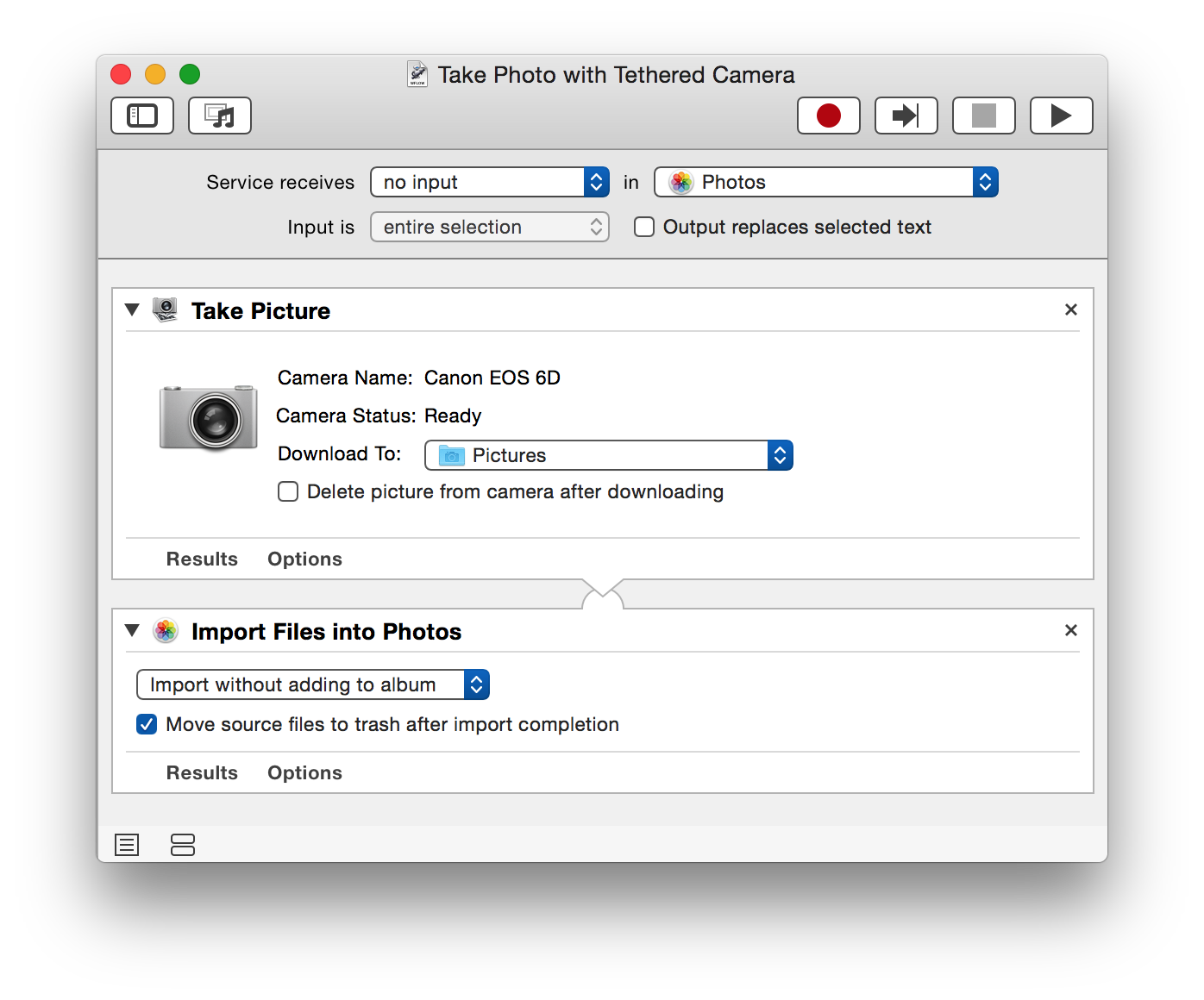 Photos Automator Import From Tethered Camera
